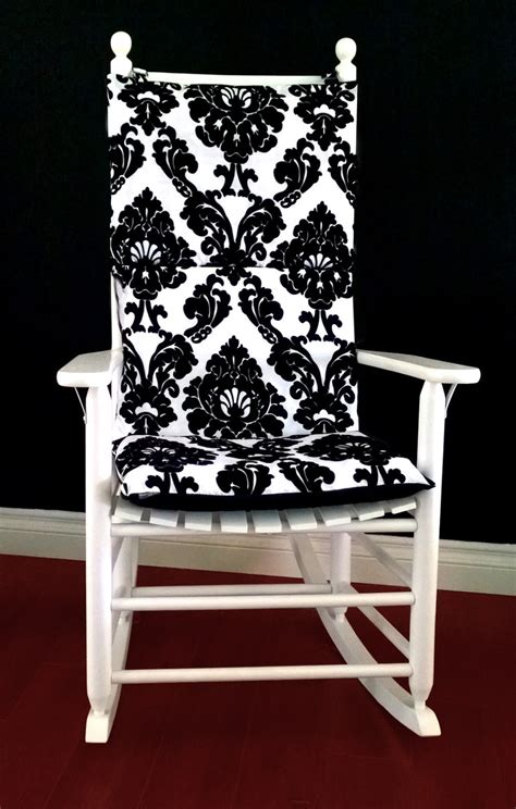 Rocking Chair Cushion Covers by On Sale Rocking Chair Cushion Cover Black White Flocked