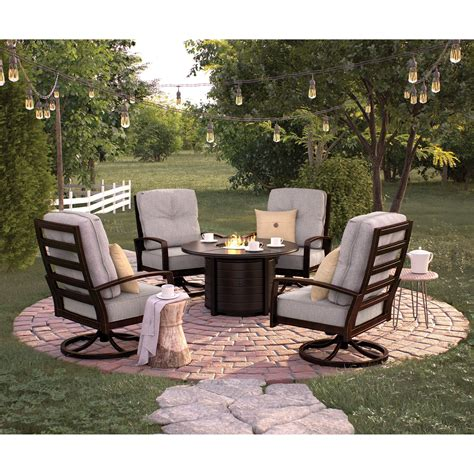 castle island outdoor conversation set with fire pit table