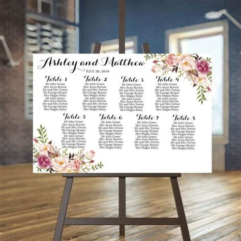 wedding seating chart printable rustic guests list