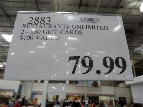 Costco Restaurant Gift Cards - restaurants unlimited discount gift card
