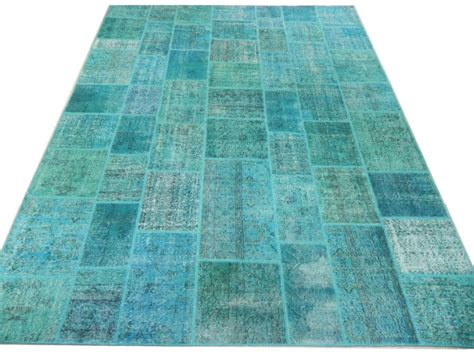 Turquoise Patchwork Rug - on sale 9x12 ft 275x366 cm turquoise patchwork rug by