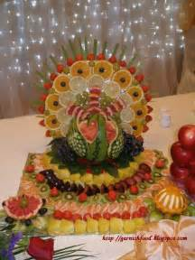 Fruit carving arrangements and food garnishes watermelon peacock and