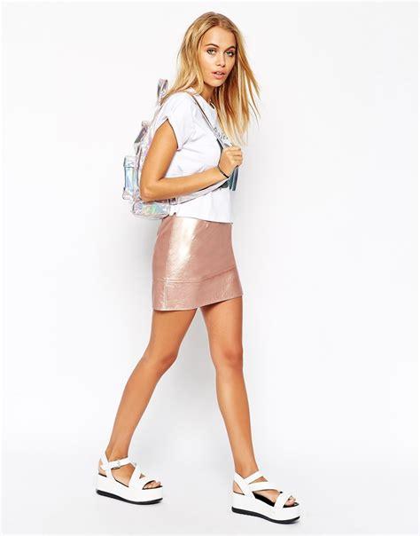 asos mini skirt in leather look in metallic in pink