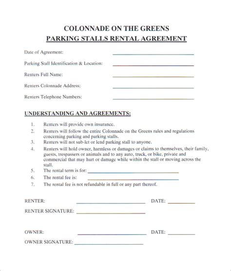 10 Parking Lease Templates Sle Templates Parking Lot Rental Agreement Template