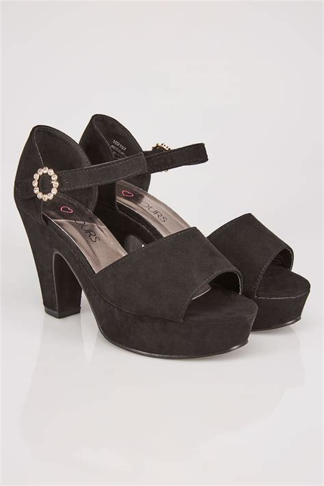 Po Address Finder Black Comfort Insole Open Toe Heeled Shoe With Platform Diamante Buckle In Eee Fit 4 10
