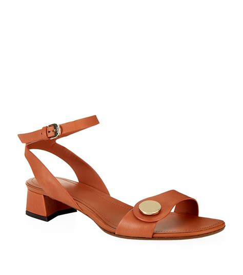 heeled sandal tod s low block heel leather sandal in brown lyst