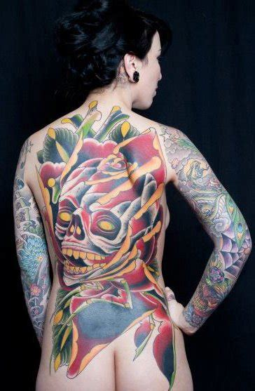 analog tattoo flower skull back by analog