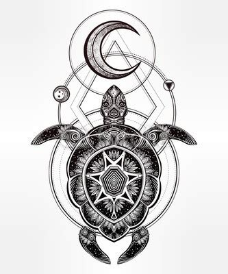 mandala shell turtle with half moon and geometric drawings