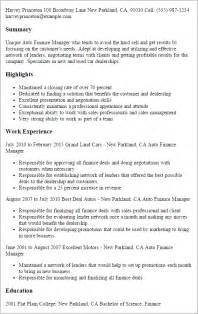 Used Car Manager Sle Resume by Professional Auto Finance Manager Templates To Showcase Your Talent Myperfectresume