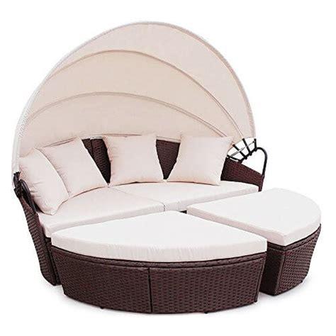 lounge gartenmöbel mit dach und tisch li il polyrattan sunbed lounge rund mit kissen und dach