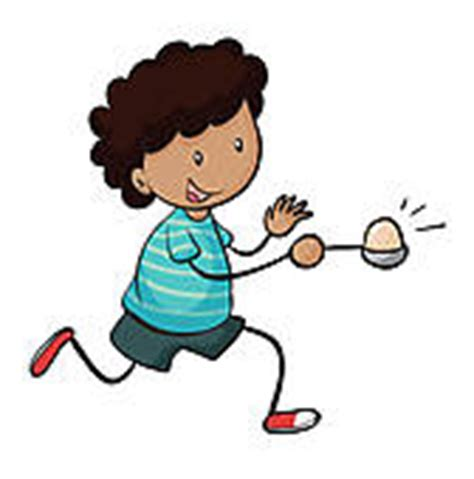 egg race challenges clipart of boy running in egg and spoon race k11417444
