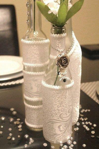 set 3 decorated wine bottle centerpiece white wine