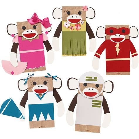 Paper Bag Monkey Craft - monkey puppets puppets