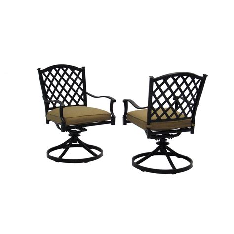 Shop Allen Roth Set Of 2 Shadybrook Bronze Strap Seat Outdoor Swivel Dining Chairs