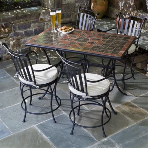 patio dining table set 5 macchiato marble mosaic counter height patio set