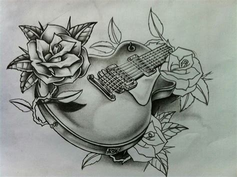 guitar with roses tattoo guitar and roses flash