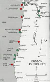the oregon coast map lighthouses of oregon coast map oregon coast mappery