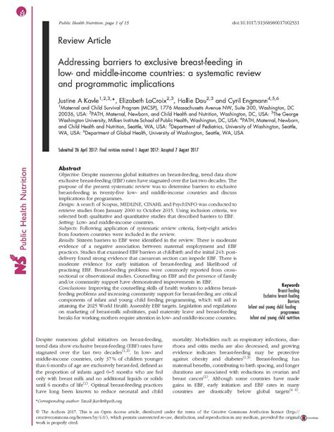 addressing barriers  exclusive breast feeding    middle income countries