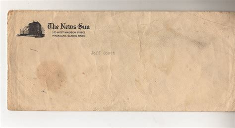 Recommendation Letter Envelope City Editor Reference Letter Envelope 1982