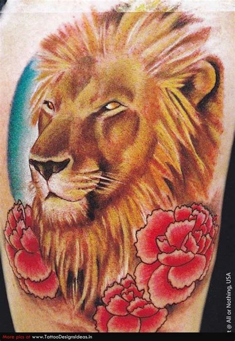 lion and rose tattoo and roses