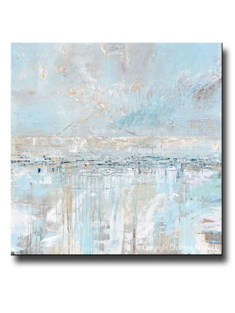 light blue wall decor original art abstract painting blue grey textured coastal