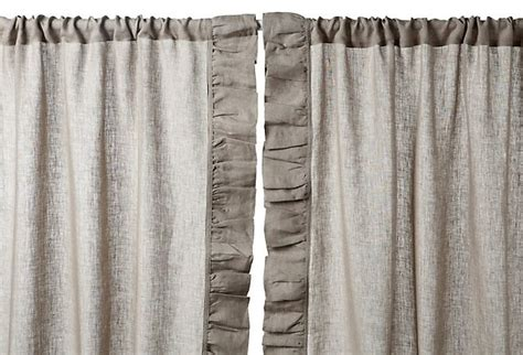 Gray Linen Curtains Ruffle 96 Quot Linen Curtain Panel Gray