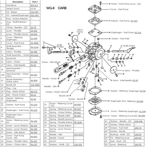 walbro carb diagram walbro wg 8 carburetor diagram parts list walbro