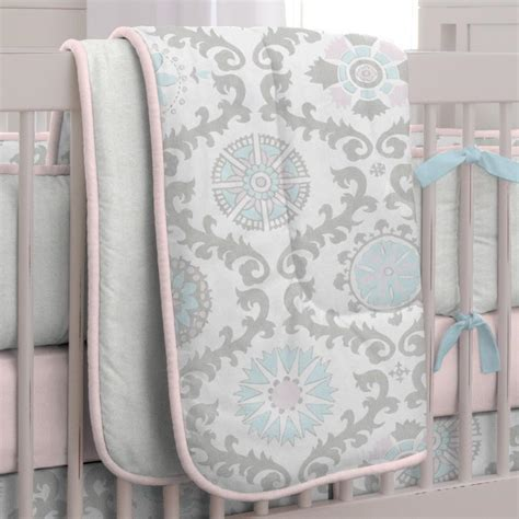 Pink And Gray Rosa 3 Piece Crib Bedding Set Carousel Designs Pink And Grey Crib Bedding Sets