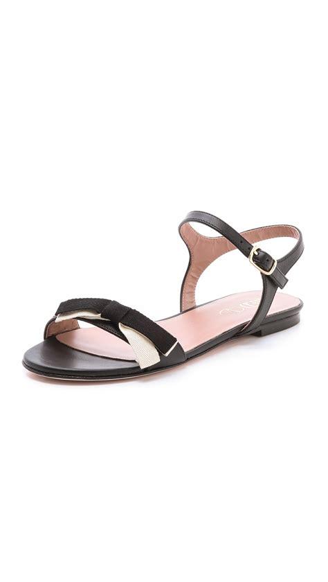 black bow flat sandals lyst valentino bow flat sandals in black