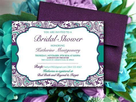 bridal shower invitation template teal green eggplant