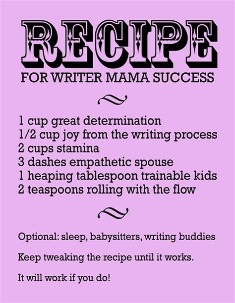 printable success quotes recipe for writer mama success inspirational print