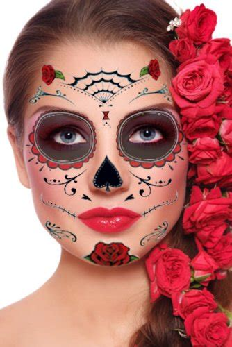 day of the dead face tattoo roses day of the dead sugar skull temporary