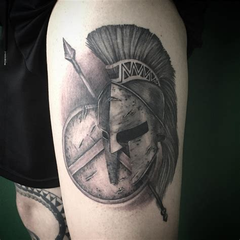 sheild tattoo spartan helmet shield and spear venice