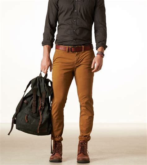 steel brown shirt with brown belt and