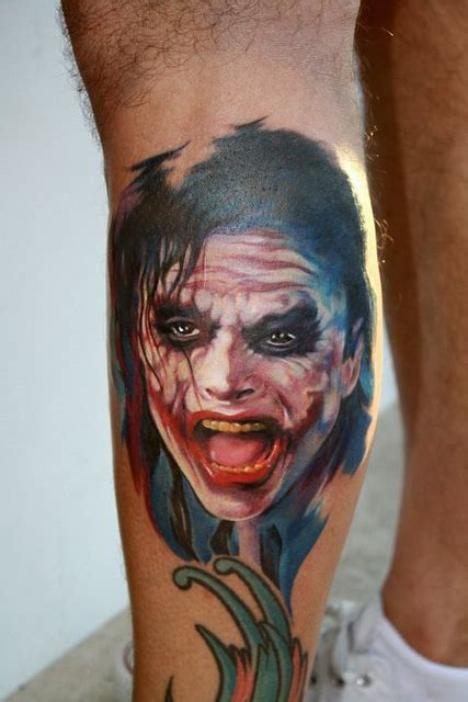 joker tattoo real 3d joker face tattoo on leg real photo pictures images