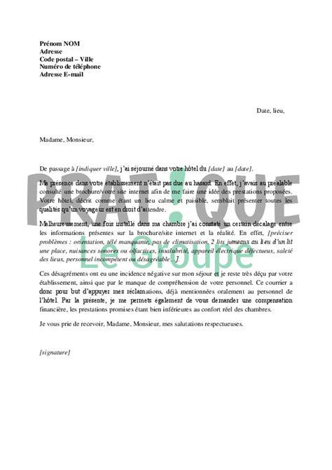 Exemple De Lettre Reclamation Lettre De R 233 Clamation Apr 232 S Un S 233 Jour Dans Un H 244 Tel Pratique Fr
