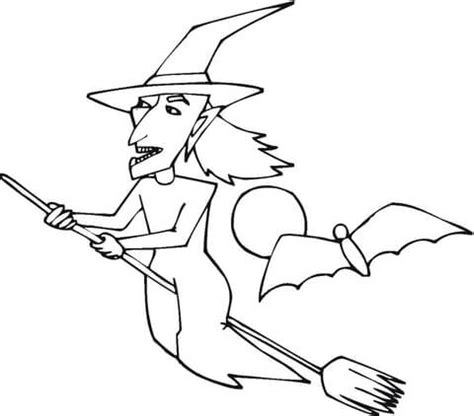 flying witch coloring page witch flying coloring page supercoloring com
