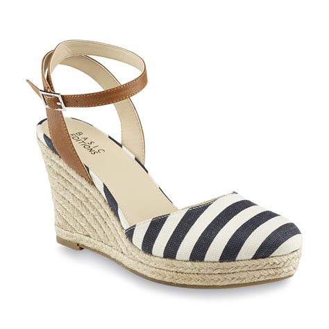 Erotokritos Blue And White Stripe Wedge by Basic Editions S Genie Blue White Striped Espadrille