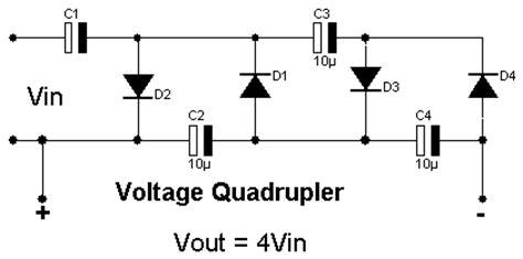 voltage multiplier diode capacitor voltage doubler voltage tripler voltage quadrupler circuit