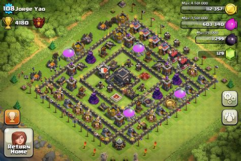 layout level 9 clash of clans clash of clans town hall level 9 layout farming www