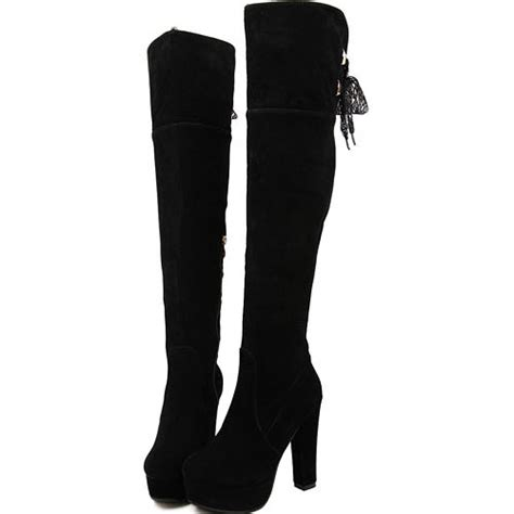cheap knee high heel boots cheap autumn toe lace up chunky high