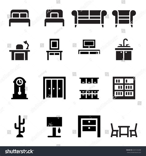 design icons furniture set of colorful room interiors with furniture icons living