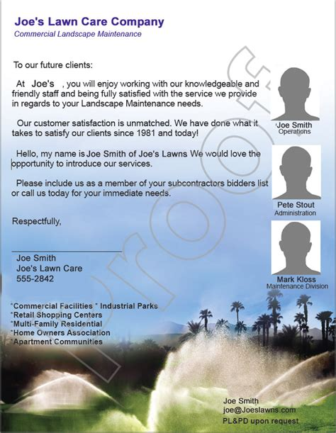 Landscaping Business Introduction Letter home owner s association lawn care bid exle