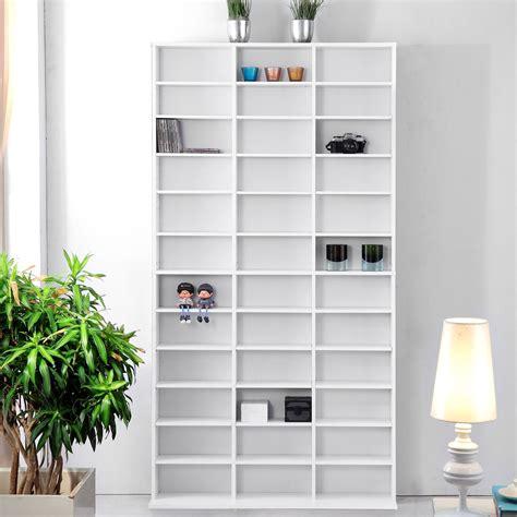 White Dvd Shelf white wooden cd dvd storage unit shelves bookcase media