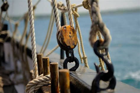 on a boat pulleys are used to raise and lower bretagne by the sea pinterest treasure island