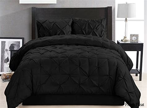 solid black comforter full 4 pieces solid black pinch pleat goose down alternative