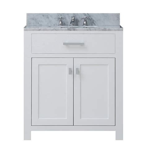 White Vanity Marble Top Water Creation 30 In Vanity In Modern White With Marble Vanity Top In Carrara White
