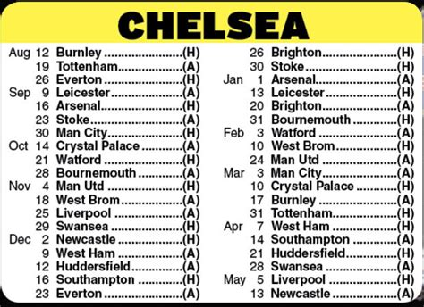 epl chelsea fixtures chelsea fixtures premier league 2017 18 fixtures released