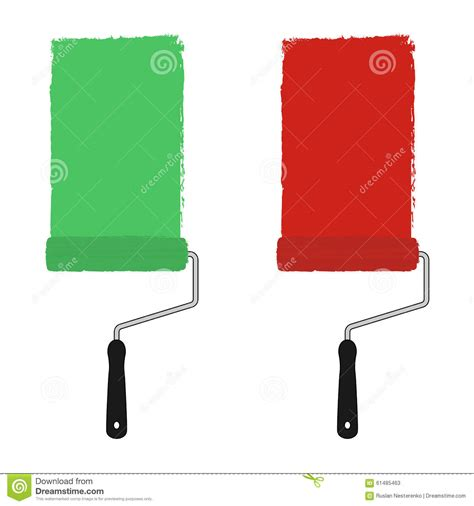 green and paint rollers stock vector image 61485463