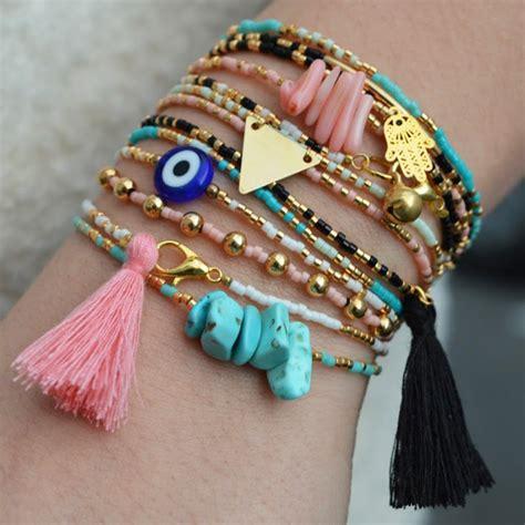 Thin bracelet Miyuki, charm and pompon   Perles & Co